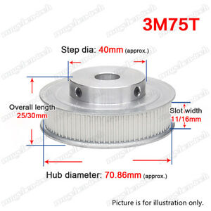3M75T Timing Belt Pulley Wheel 3mm Pitch with Sets Screw for 10/15mm Width Belt