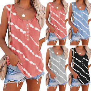 Womens Sleeveless Striped Tank Tops Camisole Cami Ladies T Shirt Blouse Vest Tee
