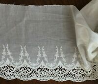 23 cm Wide// 1 yard Off White Embroidered Cotton Lace Trim