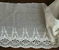 Off White Embroidered Cotton Lace Trim - 23 cm Wide/ 1 yard