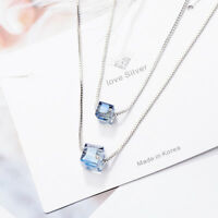 Muye 925 Sterling Silver AAAA Crystal Pendant Necklace Double Chain Women Gift