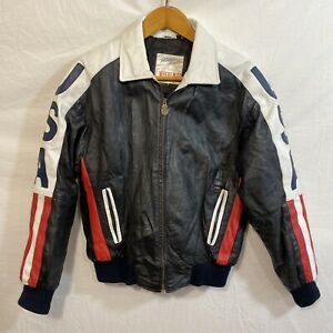 Vintage Michael Hoban AMERICAN FLAG LEATHER JACKET USA WhereMI  BIKER COAT M