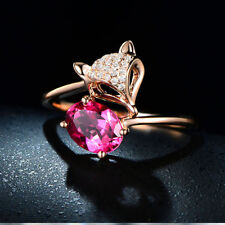 Womens Red Ruby Ring Rose Gold Jewelry Filled Engagement Ring Fasgion Jewelry