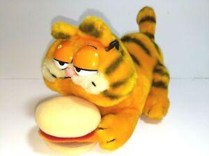 Vintage Garfield Eats Out Hamburger 17in Plush Doll Dakin Jim Davis 1978 EUC