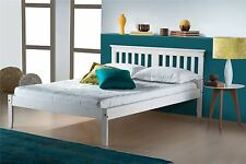 Birlea Small Double Salvador Solid Pine 4FT 120CM Wood Bed Frame in White Wash