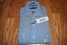 NWT Mens TOMMY HILFIGER Indigo Dot Regular Fit L/S Dress Shirt L 16-16 1/2 34/35