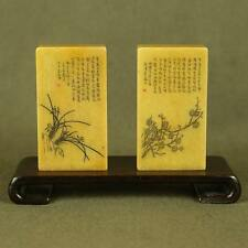 PAIR CARVED ORCHID/ PLUM BLOSSOM/ CHINESE CALLIGRAPHY IN OLD ShouShan STONE SEAL