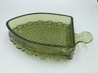 Vintage Avocado Green Pressed Glass Candy Dish BOTTOM Flat Iron Shape Imperial?