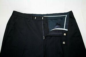 HUGO BOSS Men's 34 X 28 Wool Navy Striped SHARP5_HM Flat Front Dress Pants