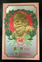 Merry Christmas Antique 1900's Postcard, SANTA CLAUS IN GOLD, Wreath of Holly