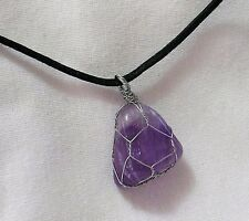 "AMETHYST GEMSTONE  22 X 22mm WIRE WRAPPED PENDANT 20"" BLACK CORD NECKLACE"