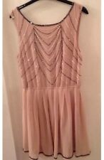 "BNWT "" Lipsy "" Size 12 Neutral / Pink Beaded / Sequin Party Dress (40 EU) £55.00"