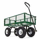 "Steel Mesh Garden Cart With 10"" Tires 400-lb Durable Outdoor Farming Gardening"