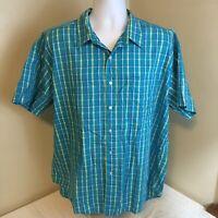 L.L. Bean Mens Shirt 100% Cotton Short Sleeve Blue-Green Yellow Purple Plaid XL