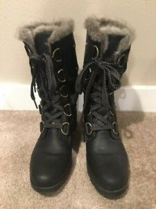 Sorel Emelie Insulated Winter Boots, Black, Womens 7.5