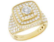 Men's 14K Gold Ring Real Diamond Solitaire 3D Pinky Wedding Ring 3 1/3 CT 17MM