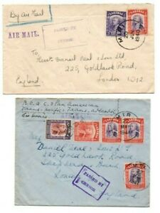 SARAWAK STAMPS & POSTMARKS ON COVERS POSTED MIRI TO UK 1940 & 1941