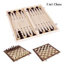 3 in 1 Plegable De madera Ajedrez Tablero Juegos Casa Set Juguete Chaquete Damas