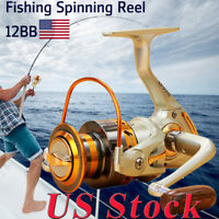 US Interchangeable 12BB Ball Bearing Saltwater/ Freshwater Fishing Spinning Reel