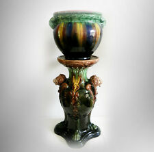 Roseville lion head majolica pedestal with majoilica jardiniere - FREE SHIPPING