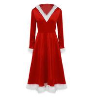 Women Ladies Christmas Soft Velvet Santa V-neck Long Sleeve Hooded Dress Clothes