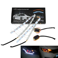 2x Newly Switchback 8 LED Strip Lights w/ Flash Turn Signal Headlight Mods