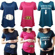 Women Pregnancy Tops Round Collar T Shirt Maternity Short Sleeve Cartoon Tee XN