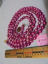 "Christmas Garland Mercury Glass PinkPurpleSilver 50"" Long 3/8"" Beads Dn9 Vintage"