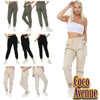 Ladies Womens Italian Pocket Trouser Joggers Cuffed Bottoms Summer Casual Pants