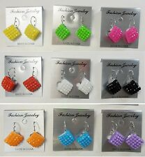 SU-15 Wholesale lots 9 pair disco ball plastic small french clip fashion earring