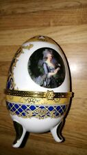 Vintage Vecceli Porcelain Hinged Footed Egg Trinket Box -Marked Vecceli-Italy