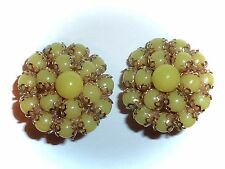 VINTAGE - PEA-GREEN LUCITE BEAD CLUSTER EARRINGS - CLIP