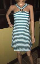 MICHAEL KORS Cruise 2017 PEACOCK Logo Striped Swim Cover Up Dress sz M NEW