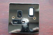 6 x Deta 8131CHB Polished Chrome FlatPlate 1G DP Switched Socket 13A Black Ins
