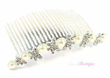 Wedding Prom Diamante Crystal & Pearl Silver Butterfly Hair Comb Slide Clip HC23