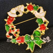 Christmas Gift18K Gold Tone Plated Enamel Bow Flower Ring Pin Brooch Xmas Xl005