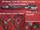 32 Street Hot Rod Chrome Tilt Steering Column Floor Shift With Woody Wheel Kit