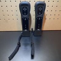 LOT OF 2-Nintendo Wii Black Remote with Motion Plus Adapter & Sleeve OEM TESTED