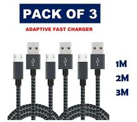 Extra Long Micro USB Data Sync Charger Cable Lead For Samsung Phones PACK OF 3--