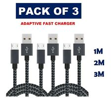 50cm 1m 2m 3m Micro USB Fast Charging Cable Samsung Galaxy Data Lead [PACK OF 3]