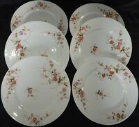J] Porcelaine de Limoges vers 1900 (x6 ASSIETTES PLATES) fleurs FLOWERS (lot n°3