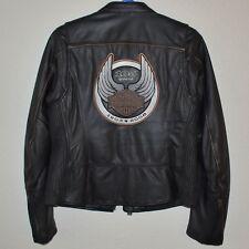 Harley Davidson Womens 105th Anniversary Black Leather Jacket Size L 97105-08VW