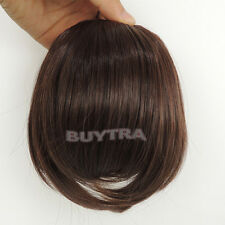 FadClassic Fringe Clip In On Bangs Straight Hair brown black WIG faux hair _QA
