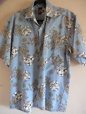Men's Hawaiian Shirt Sz  M Blue Polyester Cotton Short Sleeve