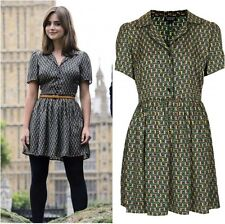 BNWT TOPSHOP cosplay Vert Noir Soyeux Tile Print Piped Chemise Robe-Taille 10