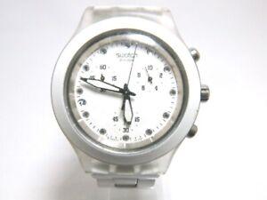 Vintage Swatch Irony Diaphane AG-2009 Swiss Quartz Watch Chronograph White Date