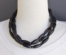 "Black Wood beaded choker necklace 3-strand bead collar 18-20"" long"