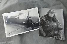 original Foto Portrait Luftwaffe Pilot  + Bild ME 109 Jagdflugzeug