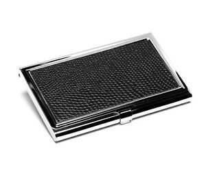 Business Cards Case Chrome-Plated Credit Card Holder Faux Leather Black