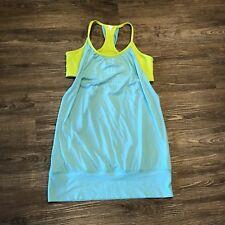 Lululemon No Limits Tank 6 (S) Angel Blue Antidote Green Workout Yoga Flowing